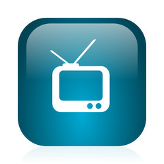 tv blue glossy internet icon