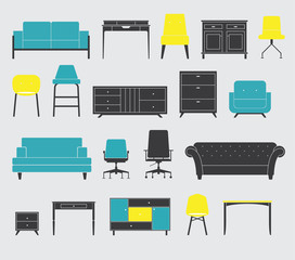 Set of Furniture Icon in Flat Design