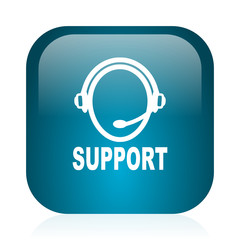 support blue glossy internet icon