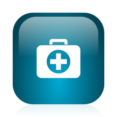 first aid blue glossy internet icon