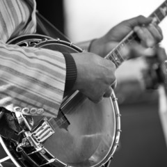 Hands of the man playing the banjo in black and white