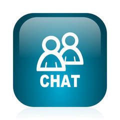 chat blue glossy internet icon
