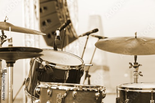 Detail of a drum set on stage closeup