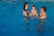 Happy family having fun in swimming pool on vacation