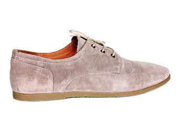 Men's shoes beige suede on white background