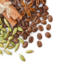 Coffee beans and spices on a white background