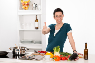 woman in the kitchen with thumb up