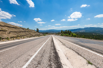 road  with cloudy sky in aegean region of Turkey
