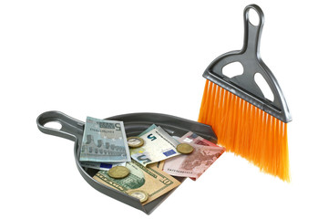 Dust brush next to a dust pan with Euro and US Dollar
