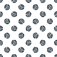 Seamless pattern with polka dots (abstract roses)