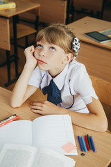 education and school concept - little student girl