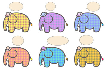 Cartoon elephant plaid