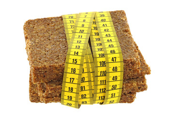 Measuring tape wrapping Whole grain fitness bread