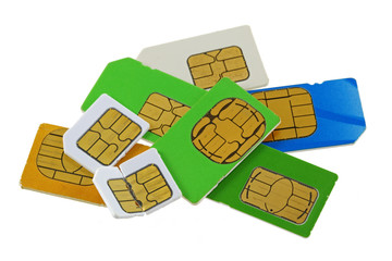 Old and used SIM cards, one is bent and broken