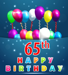 65 year Happy Birthday Card with balloons and ribbons