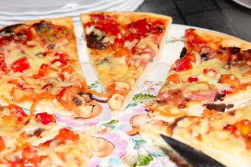 small pieces of pizza as an element of fast food