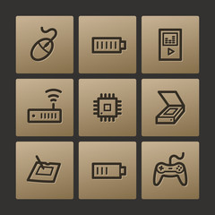 Electronics web icons, buttons set