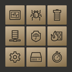 Internet security web icons, buttons set