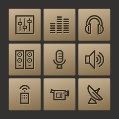 Media web icons, buttons set