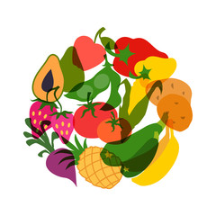 Vegetarian food. Background design with stylized vegetables.