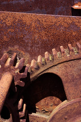 Rusty cogwheels mechanism of a derelict machine