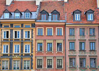 Facades of Warsaw houses