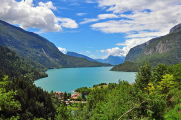 Molveno lake, top view, Italy