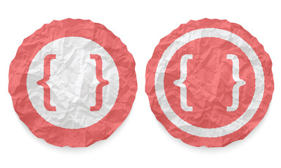 two icons with texture crumpled paper and brackets