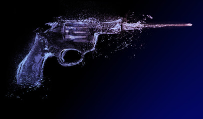 Revolver. water gun splash abstract shoot