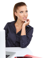 Woman with a laptop - isolated over a white background
