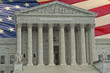 Washington DC Supreme Court facade on american flag backgound