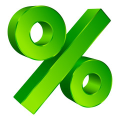 Percent Sign 3D Sale Angled Green
