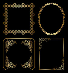 gold floral decorative frames - vector
