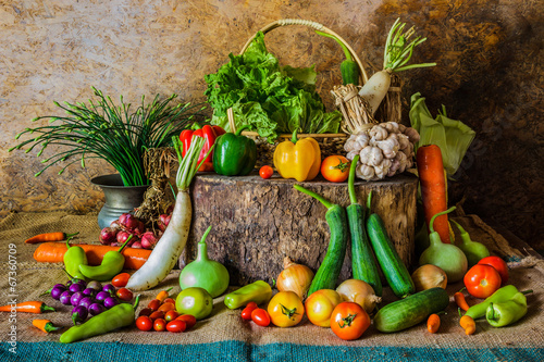 still life  Vegetables, Herbs and Fruit.