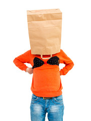 Young man in paper bag on head wearing women's lingerie