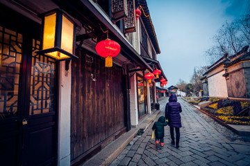 Flagstone alley in Zhouzhuang, China
