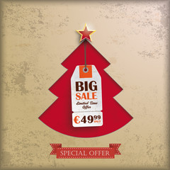 Red Christmas Tree Hole Price Sticker