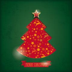 Red Christmas Tree Hole Snow Stars Rentier