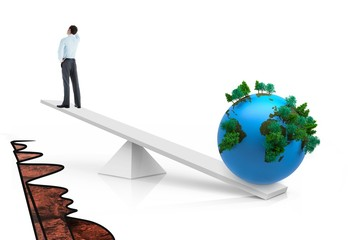 White scales weighing businessman and earth
