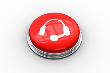 Composite image of headset graphic on button