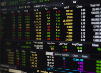 Stock Market Exchange on the computer screen.