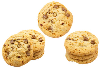 Set of chocolate chip cookies isolated on white background