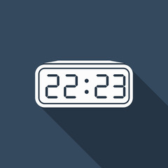 digital clock icon with long shadow