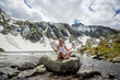 Yoga by the lake on the Swiss Alps