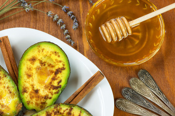 Avocado with cinnamon and honey