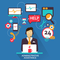 Flat design . Freelance career. Administrative assistance.
