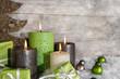 Leinwanddruck Bild - Vier Adventskerzen: Weihnachten Dekoration in grün