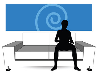 man silhouette on sofa