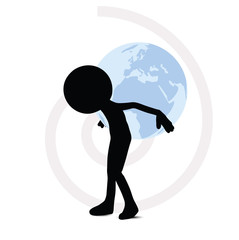 3d man carrying globe behind