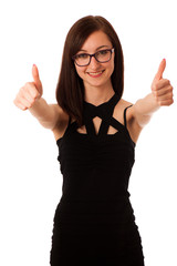 young professional woman showing thumb up